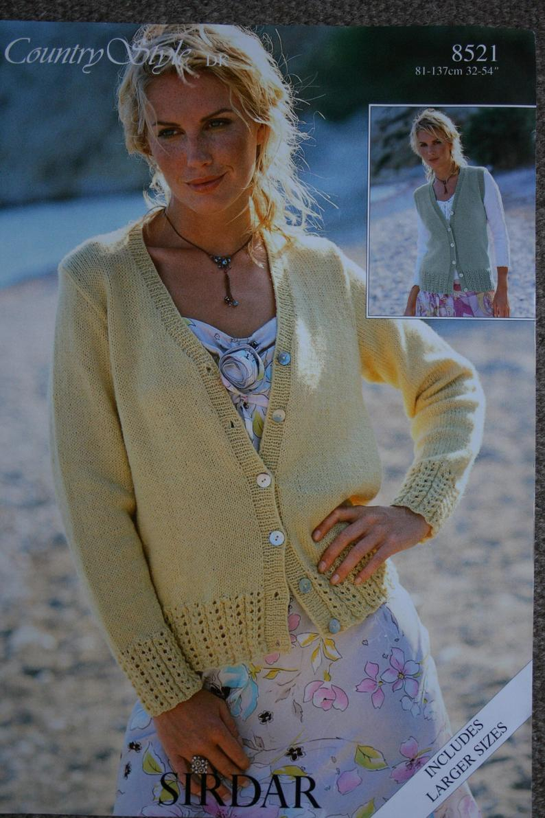 Cardigan Sweater Knitting Pattern Cardigan Sweater Knitting Pattern Sirdar 8521 For Women Uses Dk Weight Yarn Sizes 32 54 81 137 Cm Paper Original Not A Pdf