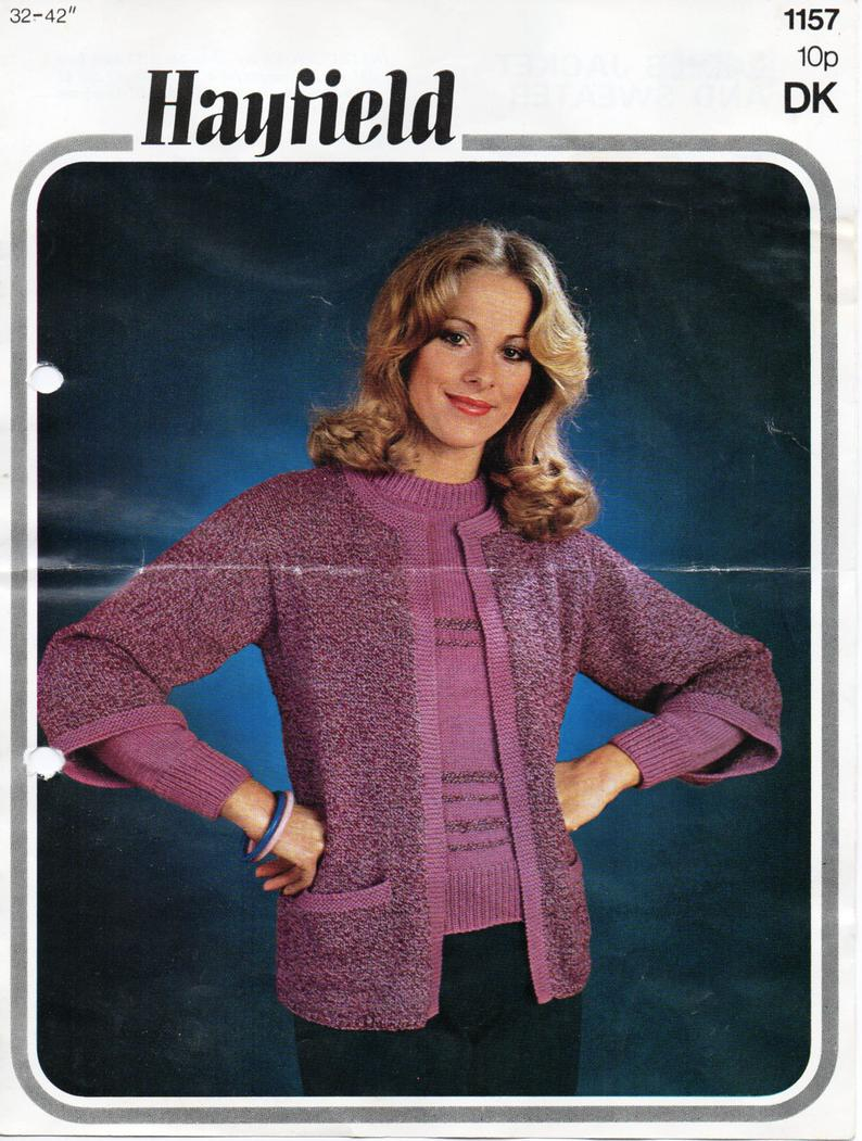 Cardigan Sweater Knitting Pattern Vintage Womens Cardigan Sweater Knitting Pattern Pdf Ladies Edge To Edge Jacket Jumper 32 42 Dk Light Worsted 8ply Pdf Instant Download