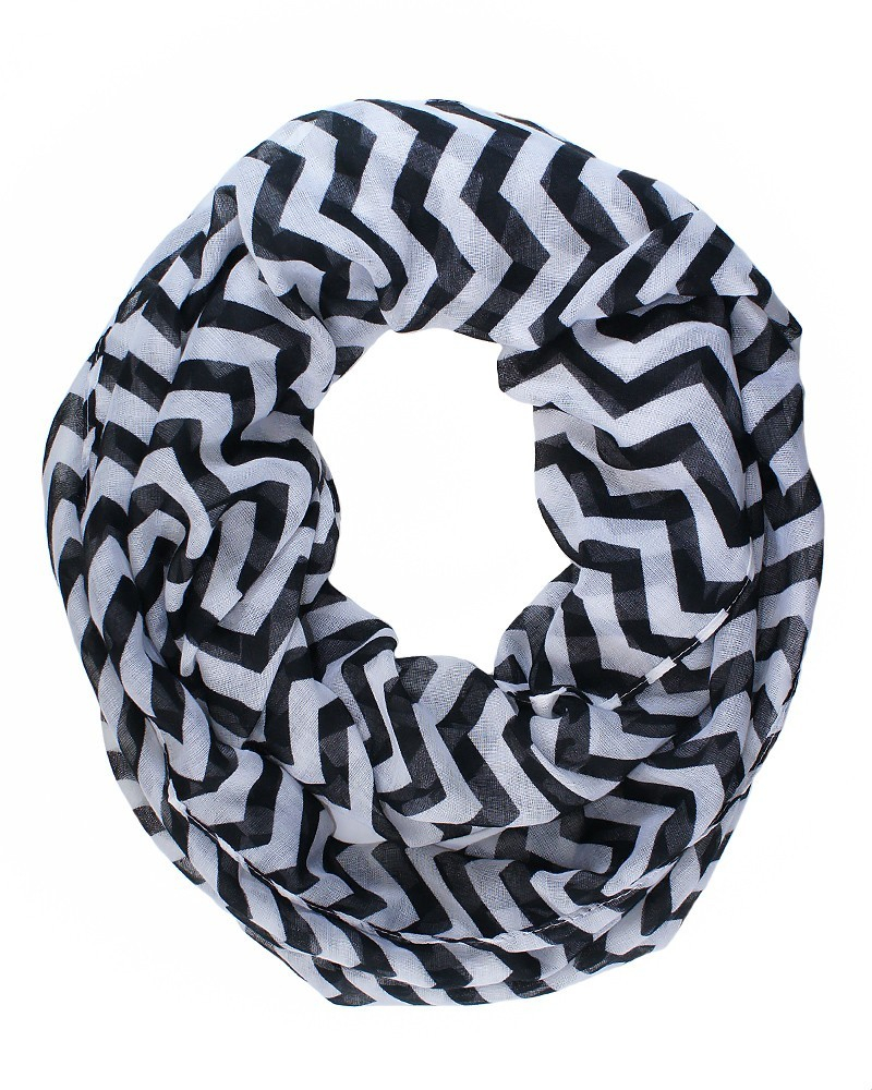 Chevron Infinity Scarf Knitting Pattern Black And White Infinity Scarf