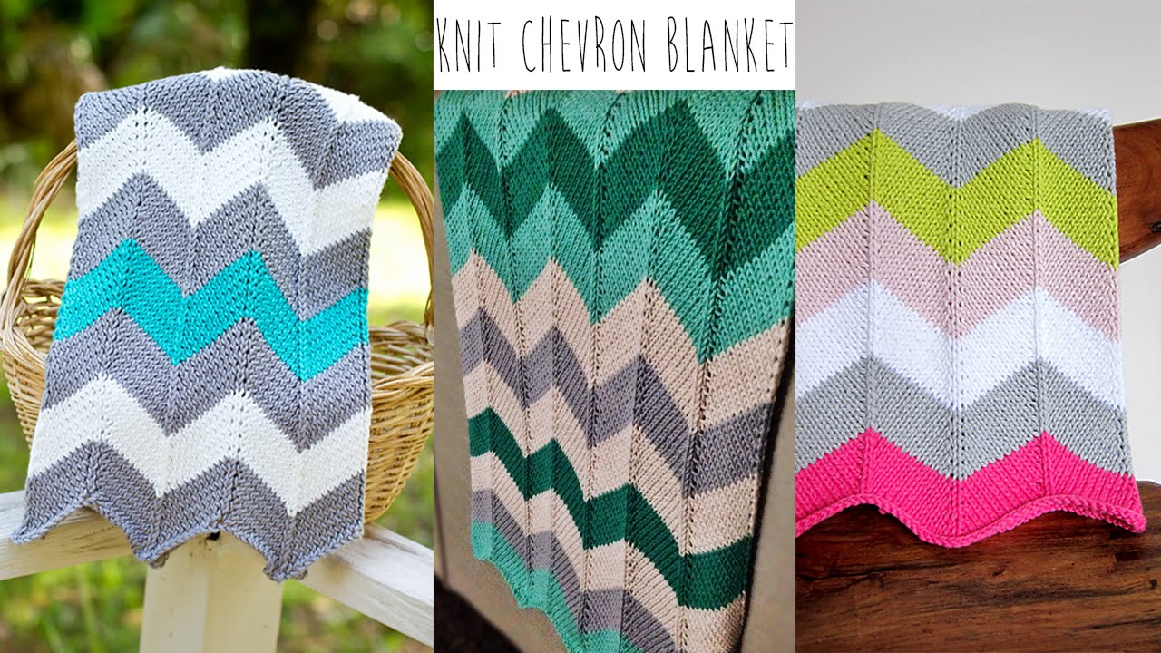 Chevron Knit Blanket Pattern Knitting Tutorial Chevron Blanket