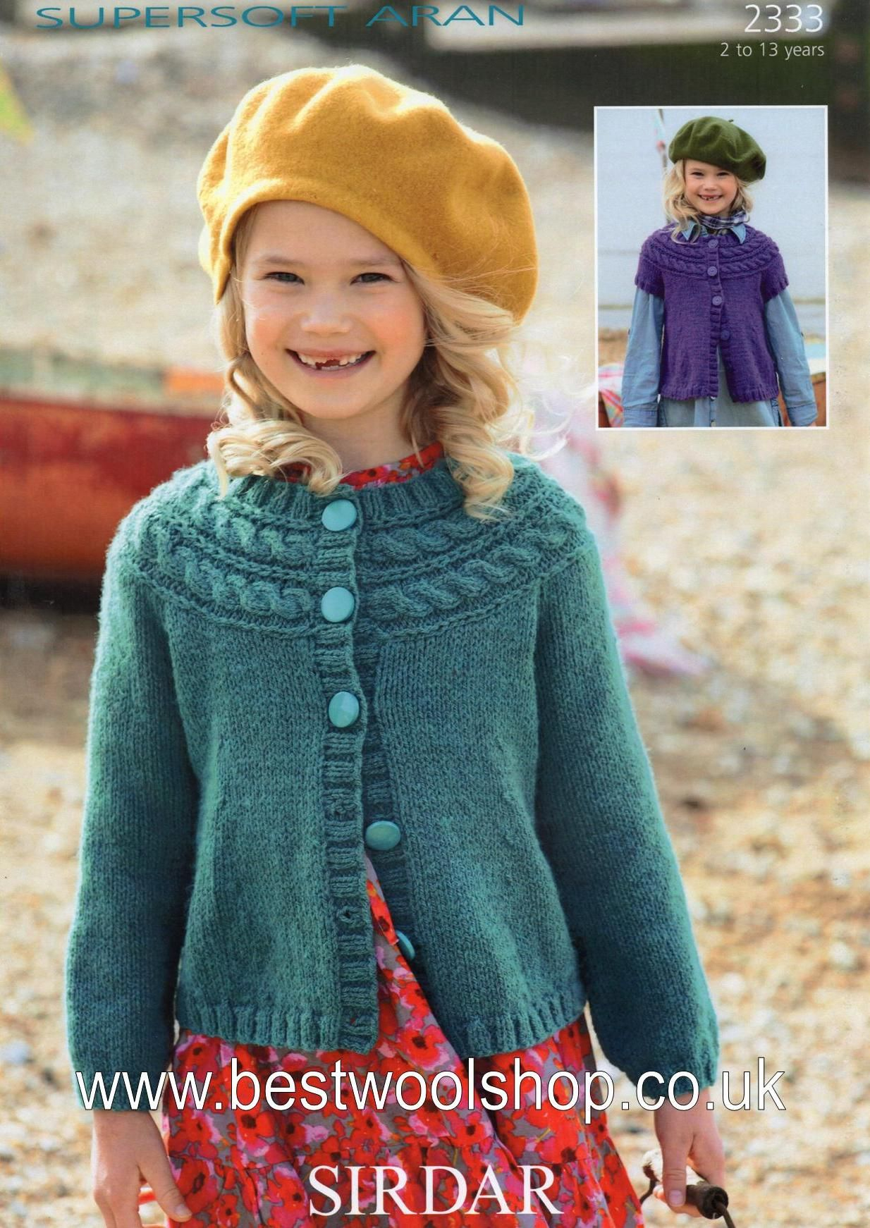 Childrens Aran Knitting Patterns 2333 Sirdar Supersoft Aran Cabled Yolk Long Short Sleeved Cardigan Knitting Pattern To Fit 2 To 13 Years