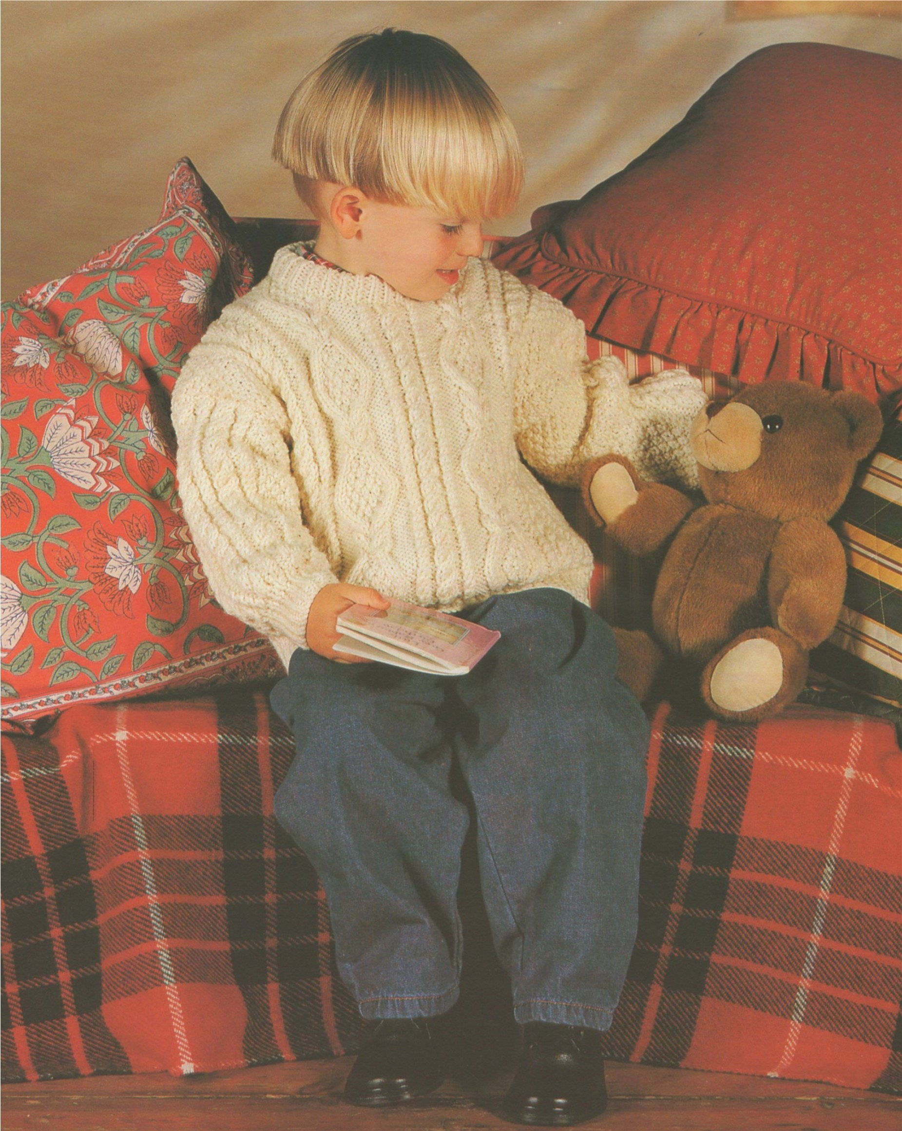 Childrens Aran Knitting Patterns Childrens Aran Sweater Knitting Pattern Pdf Boys Or Girls 20 22 24