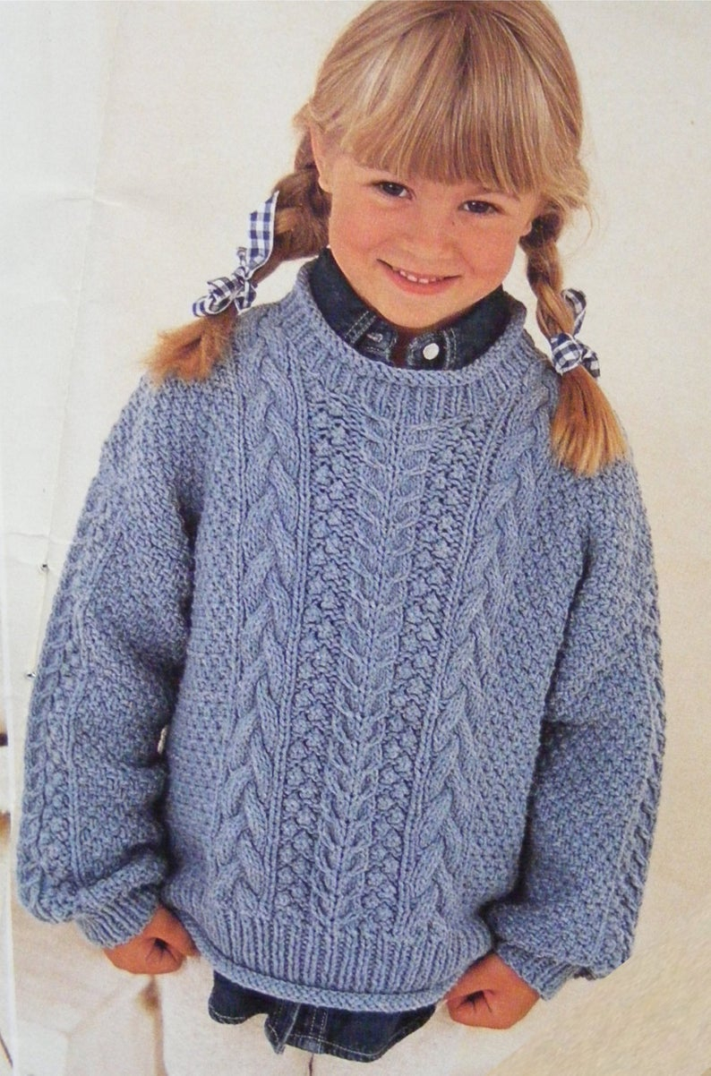 Childrens Aran Knitting Patterns Childrens Aran Sweater Knitting Pattern Pdf Boys Or Girls 20 22 24 26 28 And 30 Inch Chest Toddlers And Bas Patterned Aran Jumper