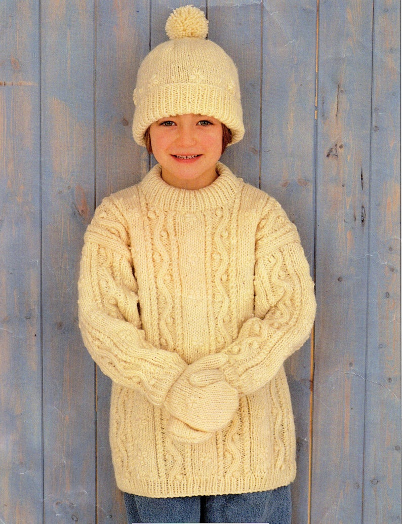 Childrens Aran Knitting Patterns Childrens Aran Sweater Knitting Pattern Pdf Cable Jumper Aran Hat Mitts 22 30 Aran Worsted 10ply Pdf Instant Download