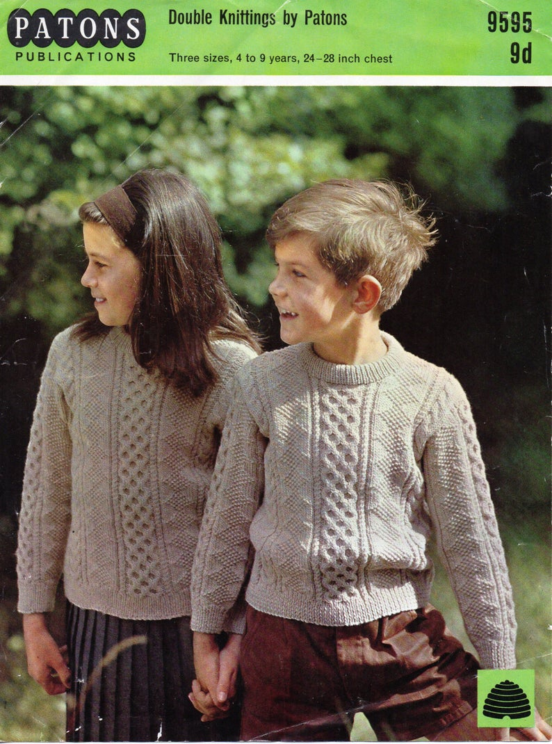 Childrens Aran Knitting Patterns Childrens Aran Sweater Knitting Pattern Pdf Cable Sweater Crew Neck Jumper 24 28inch Dk Light Worsted 8ply Pdf Instant Download