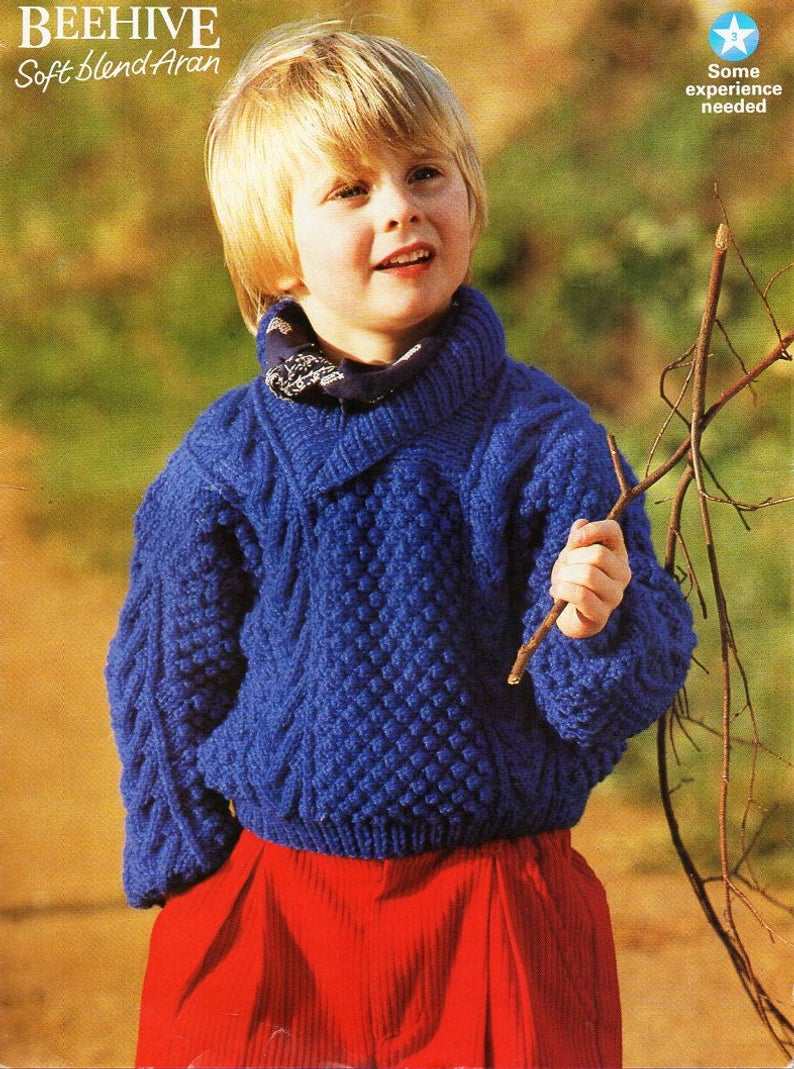 Childrens Aran Knitting Patterns Childrens Aran Sweater Knitting Pattern Pdf Shawl Collar Cable Jumper 22 32 Aran Worsted 10ply Pdf Instant Download