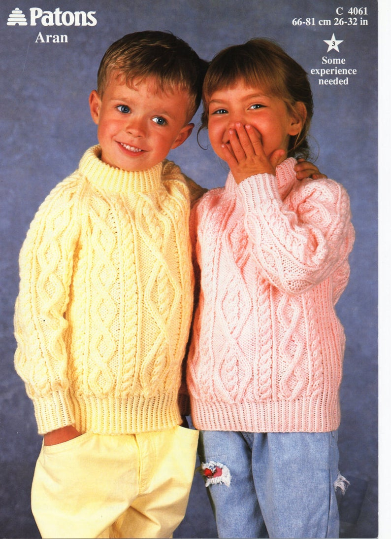 Childrens Aran Knitting Patterns Childrens Knitting Pattern Childrens Aran Sweater Aran Jumper Crew Neck 26 32 Inches Aran Childrens Knitting Patterns Pdf Instant Download