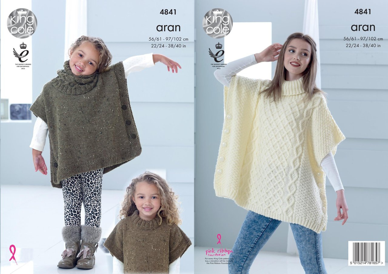 Childrens Aran Knitting Patterns King Cole 4841 Knitting Pattern Childs Adult Poncho Snood In Fashion Aran