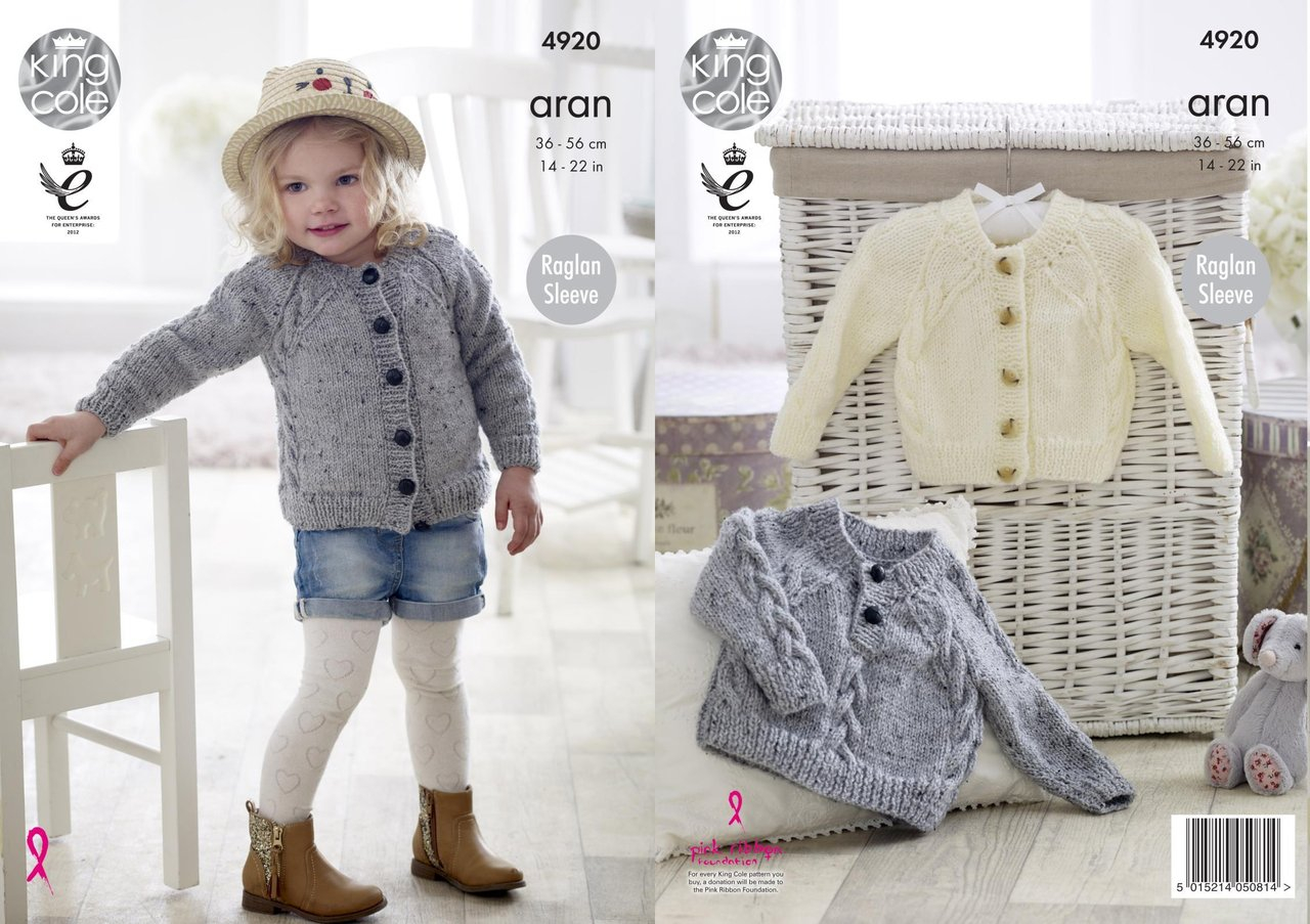 Childrens Aran Knitting Patterns King Cole 4920 Knitting Pattern Ba Childrens Cardigan And Sweater In King Cole Big Value Aran