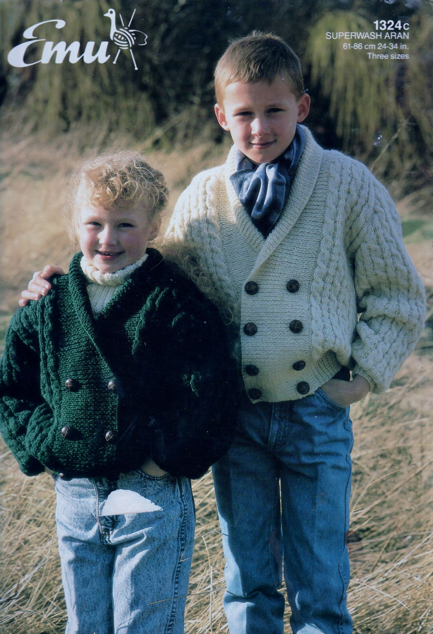 Childrens Aran Knitting Patterns Original Vintage Knitting Pattern Emu 1324c Childrens Aran Cardigan
