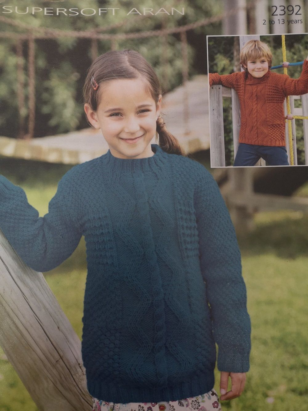 Childrens Aran Knitting Patterns Sirdar Childrens Sweaters Aran Knitting Pattern 2392