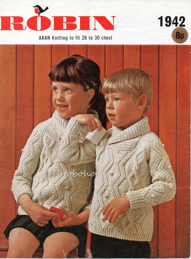 Childrens Aran Knitting Patterns Vintage Childrens Aran Sweater Knitting Pattern Pdf Shawl Collar Cable Jumper 26 30 Inch Aran Worsted 10ply Pdf Instant Download