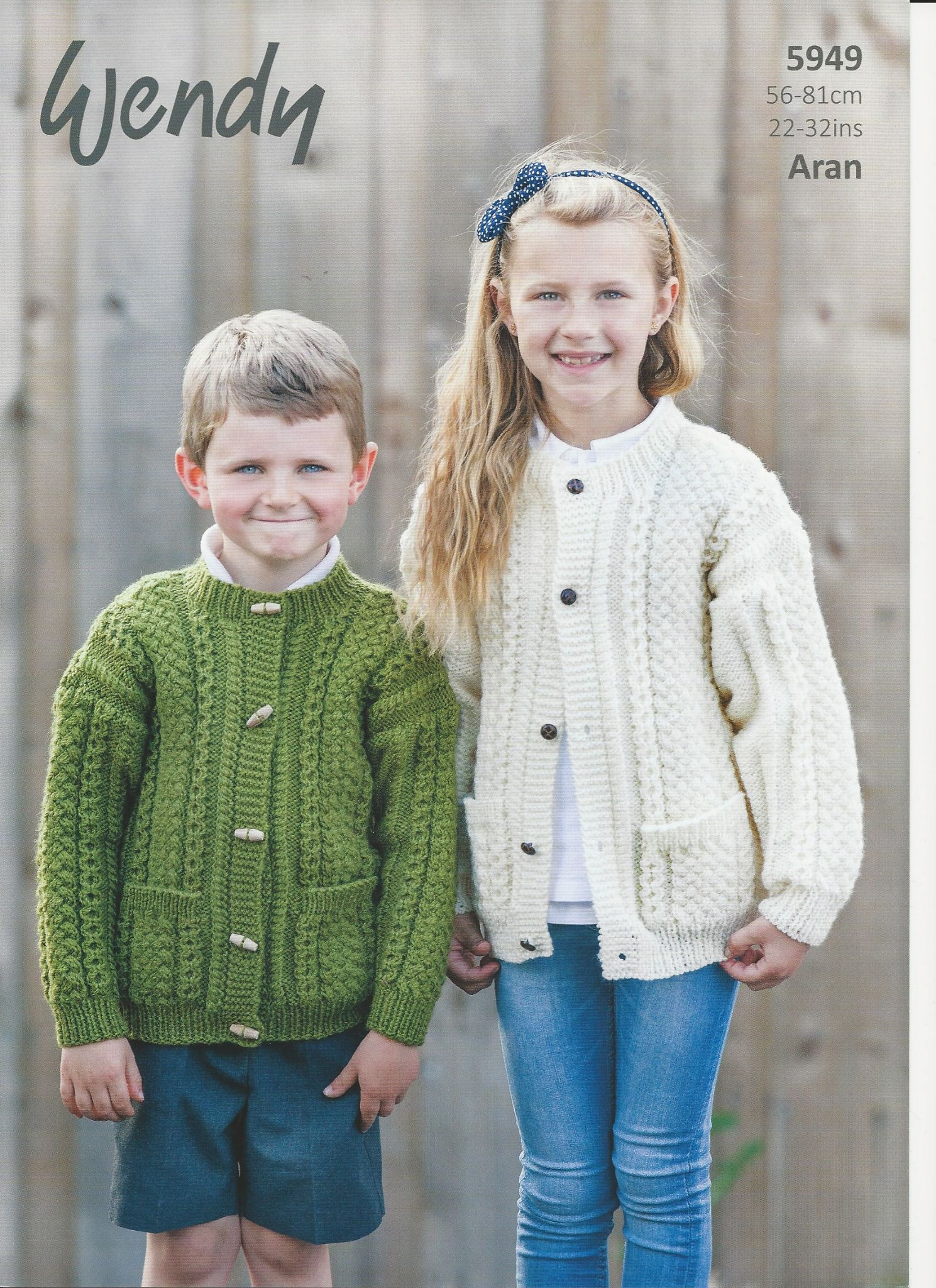 Childrens Aran Knitting Patterns Wendy Childrens Cardigans Aran Knitting Pattern 5949