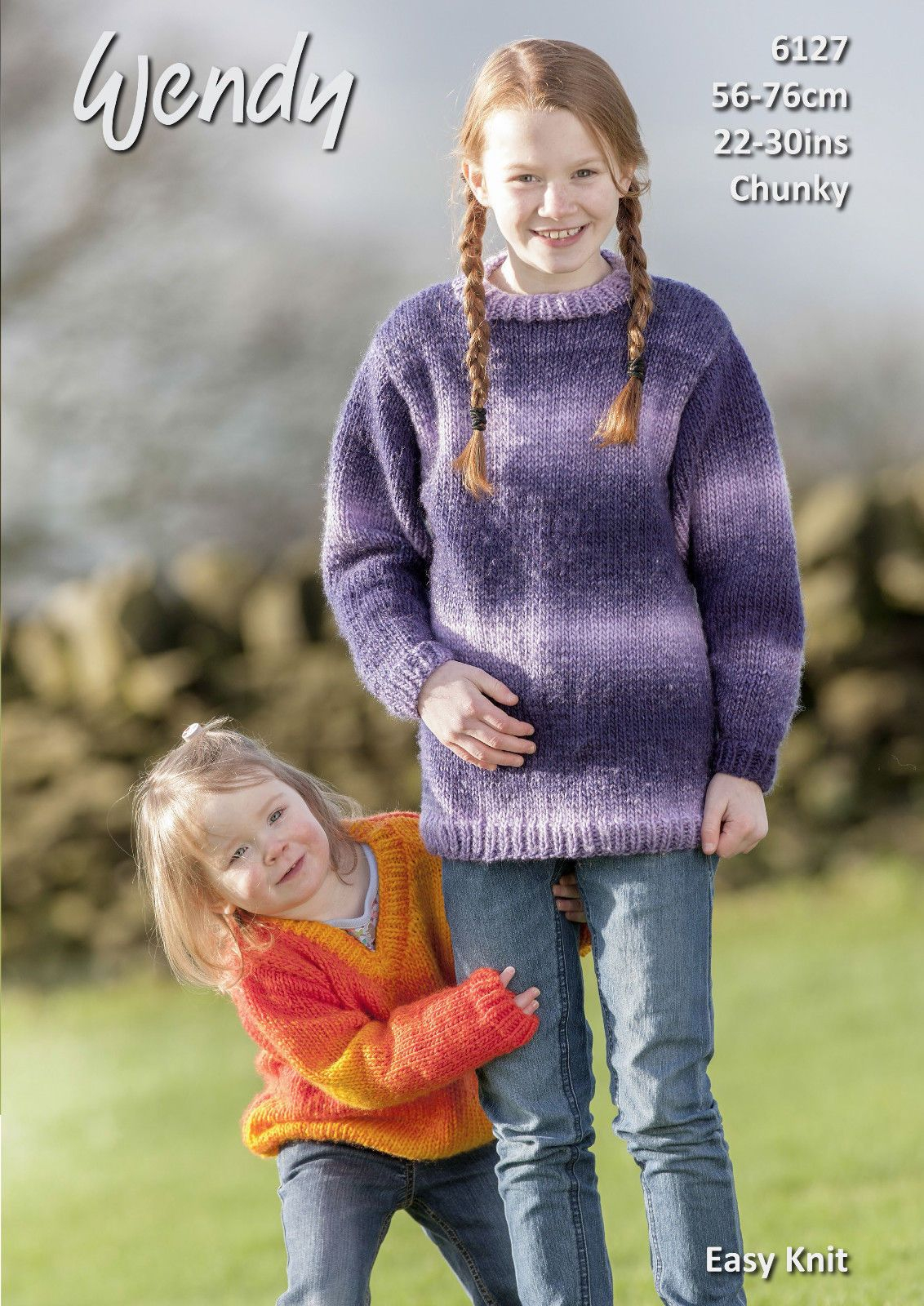 Childrens Aran Knitting Patterns Wendy Childrens Chunky Round V Neck Sweaters Knitting Pattern