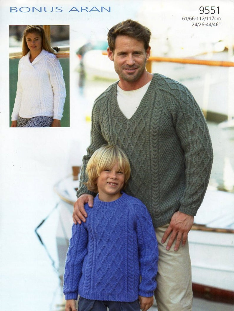 Childrens Aran Knitting Patterns Womens Mens Childrens Aran Sweater Knitting Pattern Pdf Ladies Cable Jumper Round V Neck Shawl Collar 24 46 Aran Worsted 10ply Download