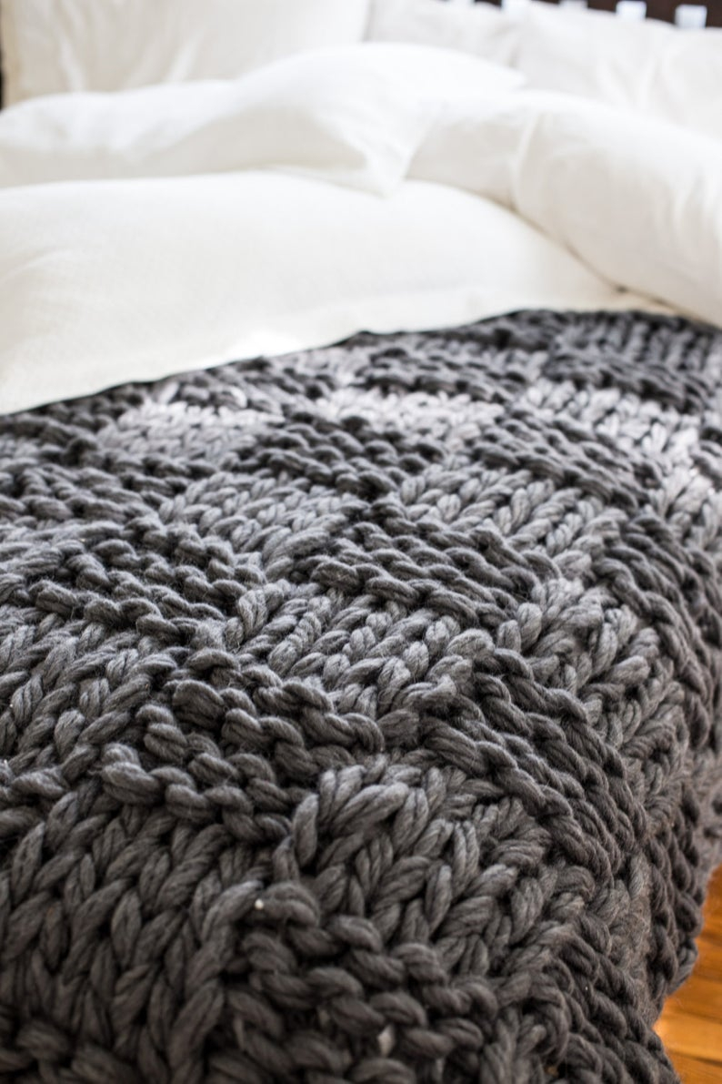 Chunky Knit Blanket Pattern Chunky Knit Throw Blanket Pattern Arm Knitting