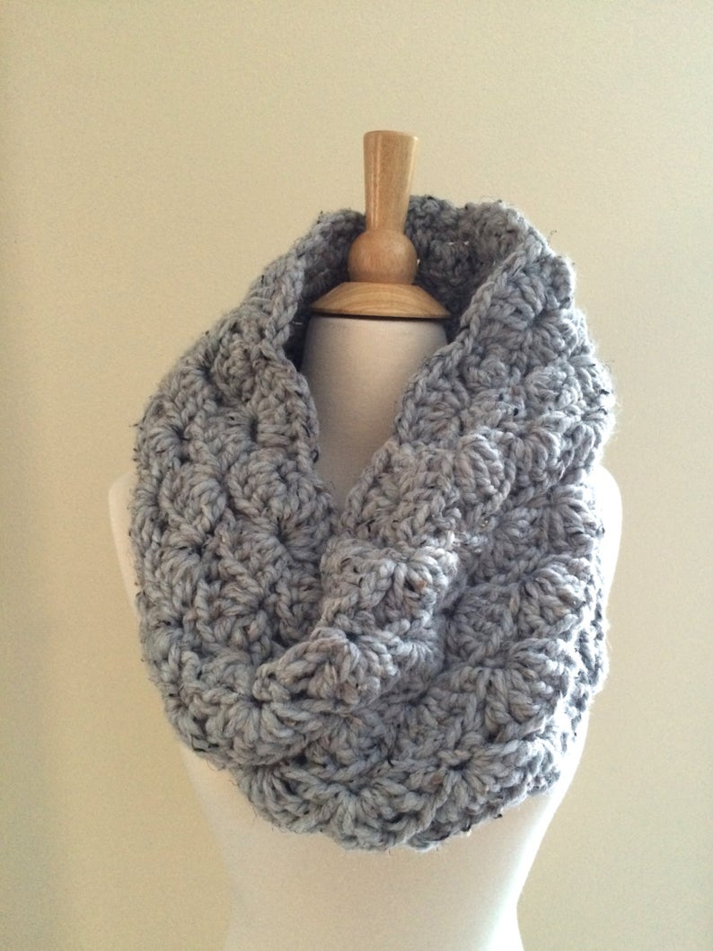 Chunky Knit Infinity Scarf Pattern Diy Crochet Pattern Sophie Cowl Super Bulky Lacy Infinity Scarf Easy Crochet P D F Chunky Yarn Instant Download