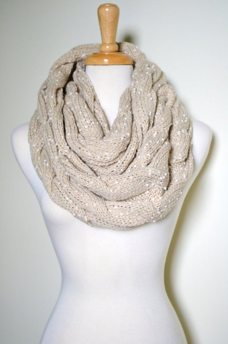 Chunky Knit Infinity Scarf Pattern Oatmeal Cable Knit Pattern Chunky Knit Infinity Scarf Oatmeal Color Chunky Thick Knitted Cable Pattern Cowl Gifts For Her Cable Knits