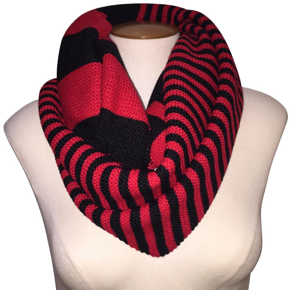 Chunky Knit Infinity Scarf Pattern Red Black Chunky Two Tone Colorblock Knit Infinity Scarfwrap 48 Off Retail