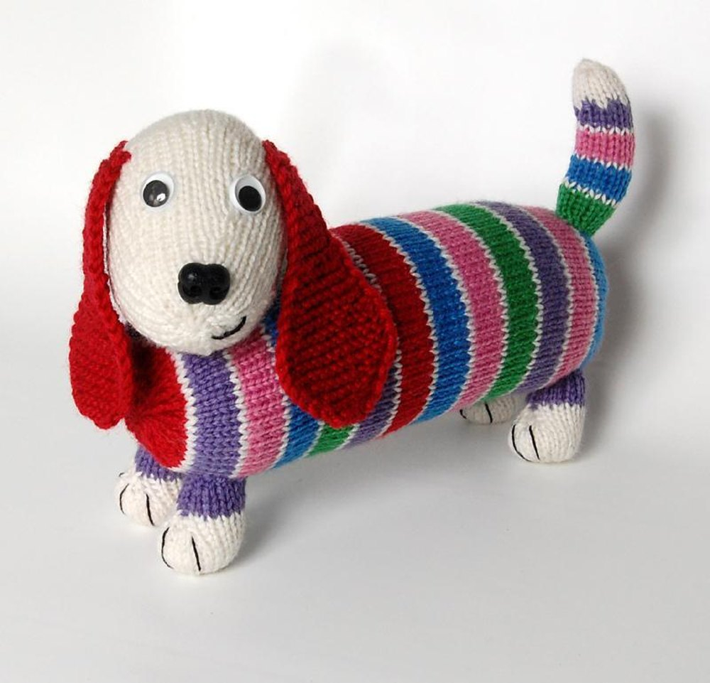 Dachshund Jumper Knitting Pattern Dave The Stash Busting Dachshund Knit Flat In The Round Versions Knitting Pattern Penny Connor