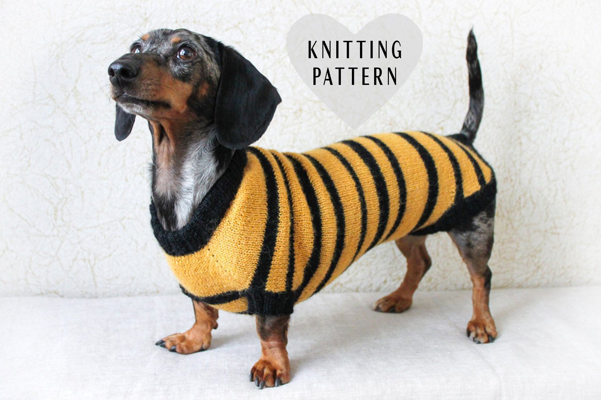 Dachshund Jumper Knitting Pattern Knitting Pattern Dog Bee Sweater Dachshund Costume Bee Sweater Dog Costume Pet Gift Dog Owner Gift Dog Lover Gift Dog Clothes Dogs