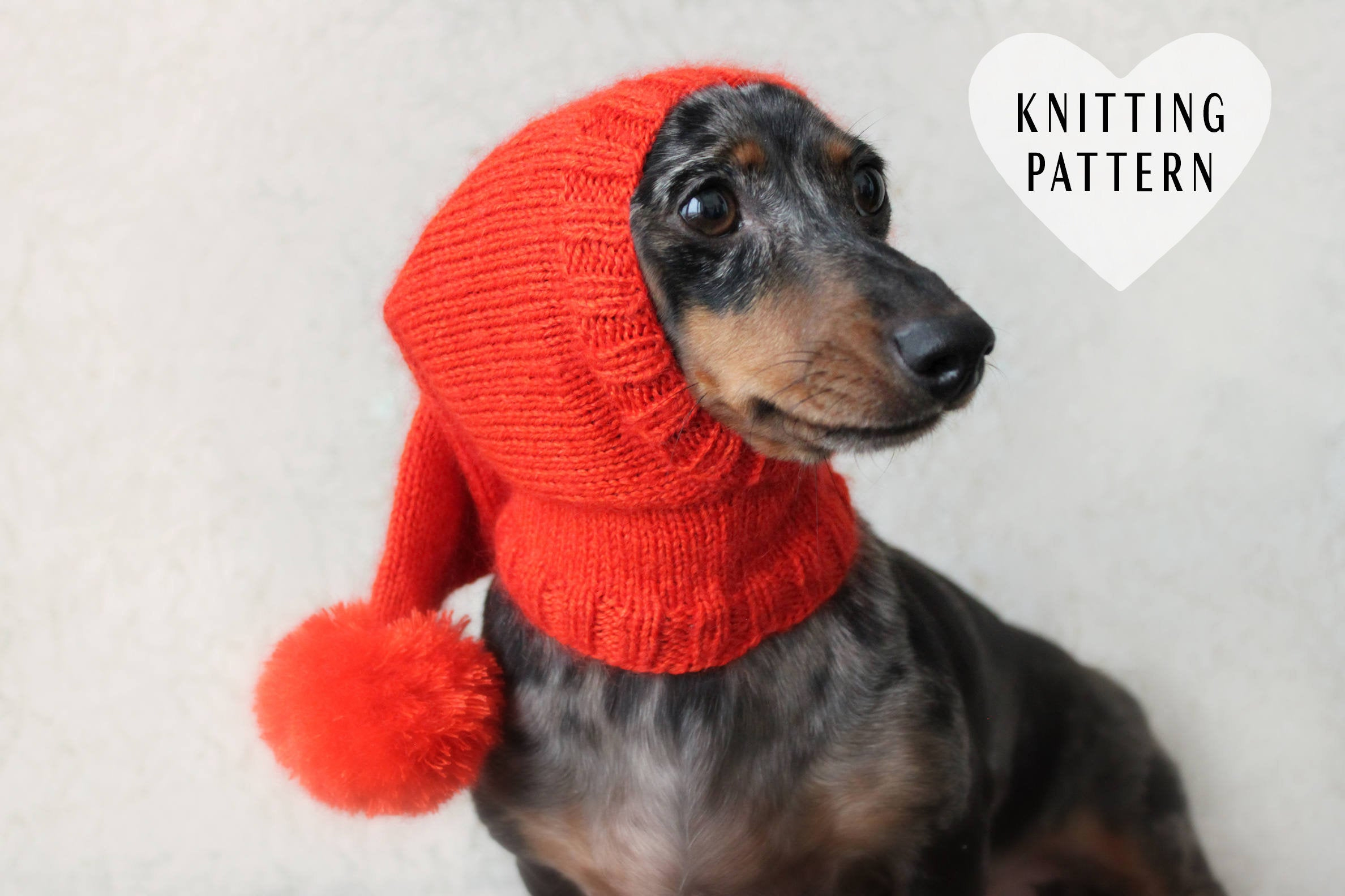 Dachshund Jumper Knitting Pattern Knitting Pattern Dog Hat Dachshund Hat Pet Clothes Pet Hat Wiener Dog Dogs Knitted Hat Knit Pet Hat Shibui Silk Cloud Pom Pom
