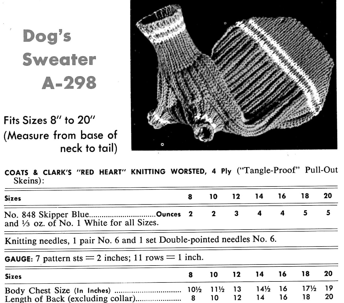 Dog Sweater Knitting Patterns Dog Sweater Knitting Pattern Instructions From A Vintage Coats And
