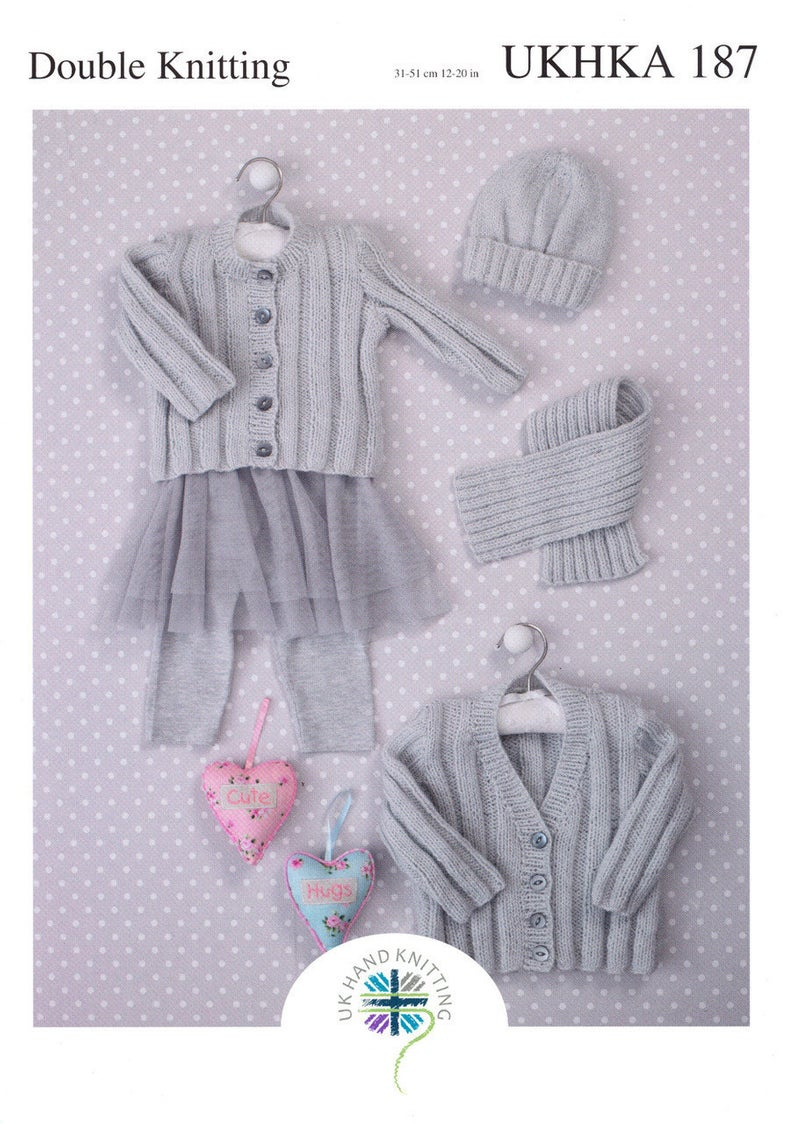 Double Knitting Baby Patterns Ba Cardigans Hat And Scarf Dk Knitting Pattern Prem 2yrs Ukhka 187 To Fit Size 12 20 Inches Ba Knitting Ba Pattern