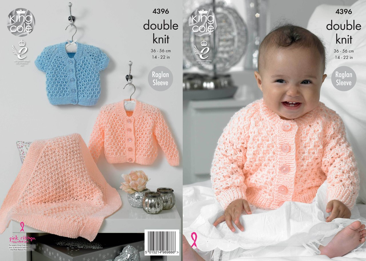 Double Knitting Baby Patterns King Cole 4396 Knitting Pattern Cardigans And Blanket In King Cole Ba Glitz Dk
