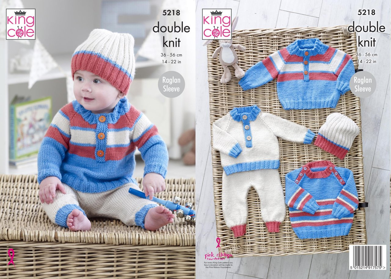 Double Knitting Baby Patterns King Cole 5218 Knitting Pattern Ba Raglan Sweaters Pants And Hat In Cherished Dk