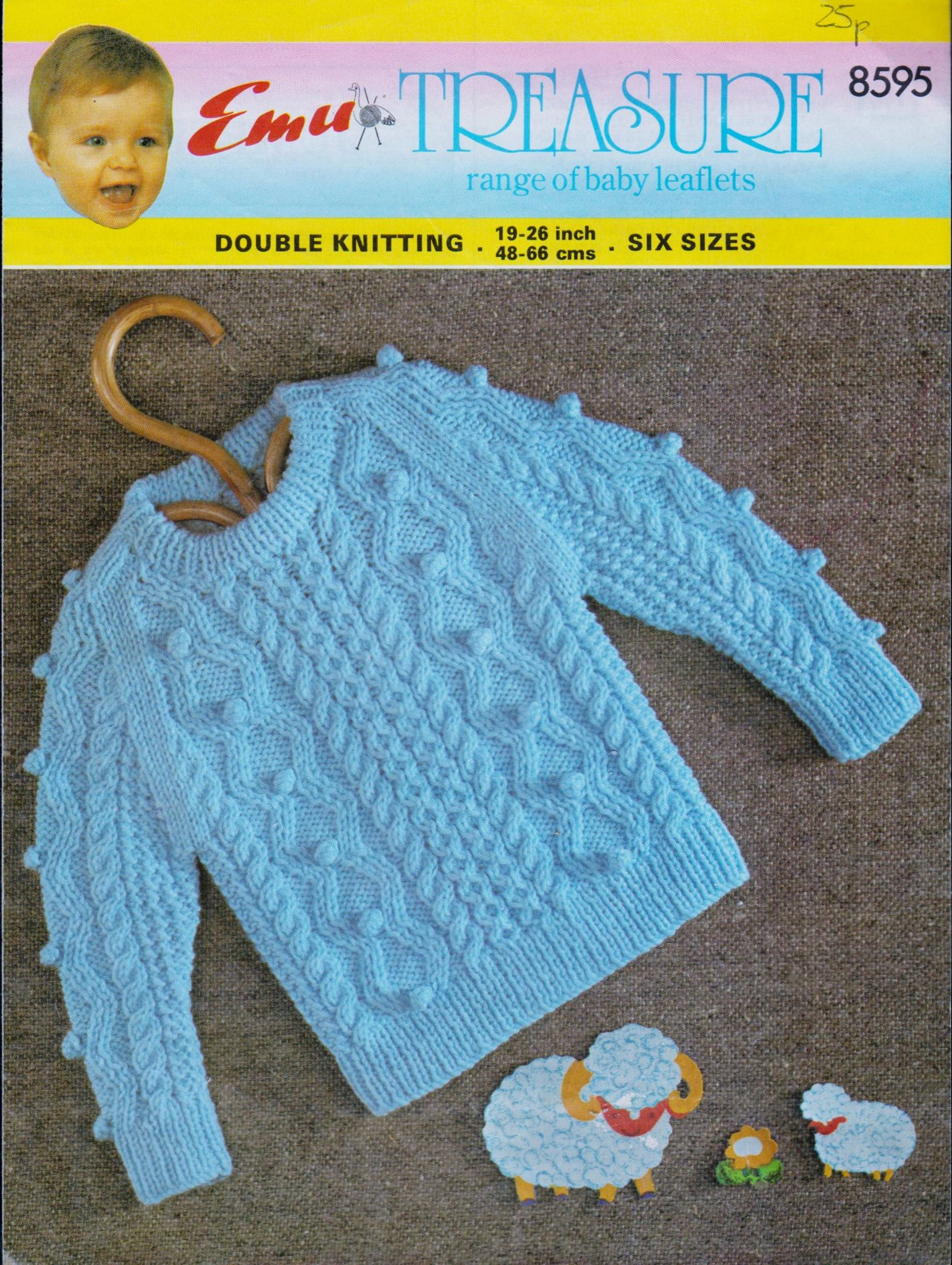 Double Knitting Baby Patterns Pdf Knitting Pattern Emu 8595 Ba Childs Cable Sweater In Double Knitting Chest 19 26