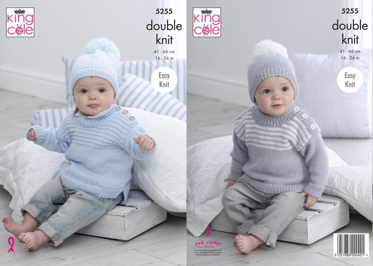 Double Knitting Baby Patterns Sweaters Hats Knitting Pattern King Cole 5255 16 26 Inch