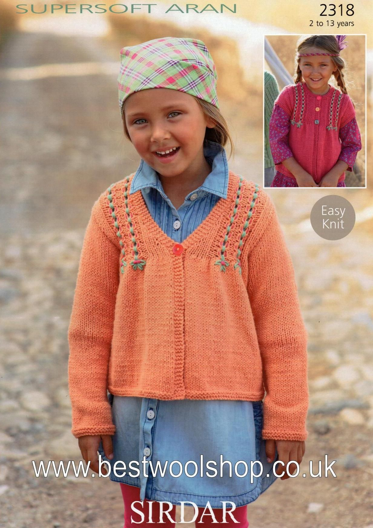 Easy Jumper Knitting Pattern 2318 Sirdar Supersoft Aran Easy Knit Long Short Sleeved Cardigan Knitting Pattern To Fit 2 To 13 Years