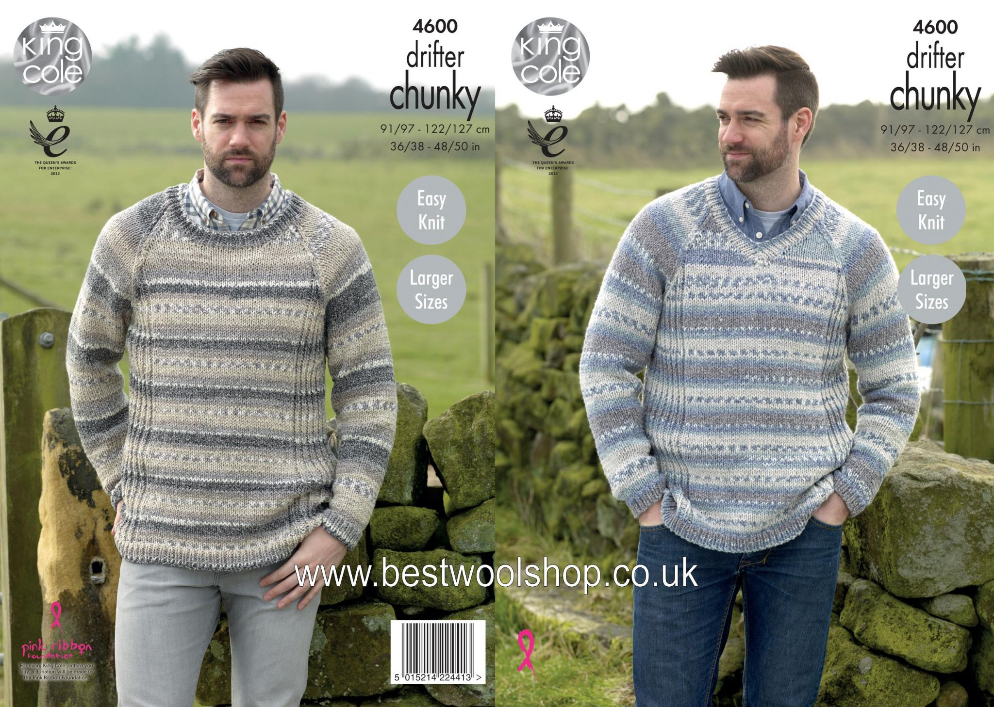 Easy Jumper Knitting Pattern 4600 King Cole Drifter Chunky Easy Knit Mens Round V Neck Sweater Knitting Pattern To Fit Chest 36 To 50