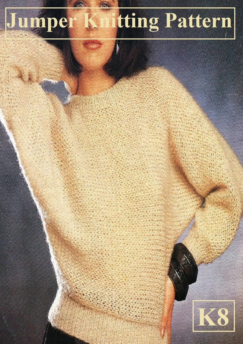 Easy Jumper Knitting Pattern Instant Download Pdf Easy Jumper Knitting Pattern K8