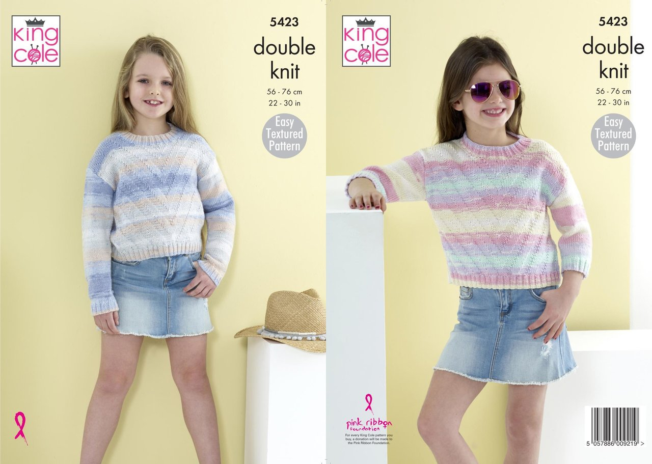 Easy Jumper Knitting Pattern King Cole 5423 Knitting Pattern Girls Easy Textured Pattern Sweaters Jumpers In King Cole Beaches Dk