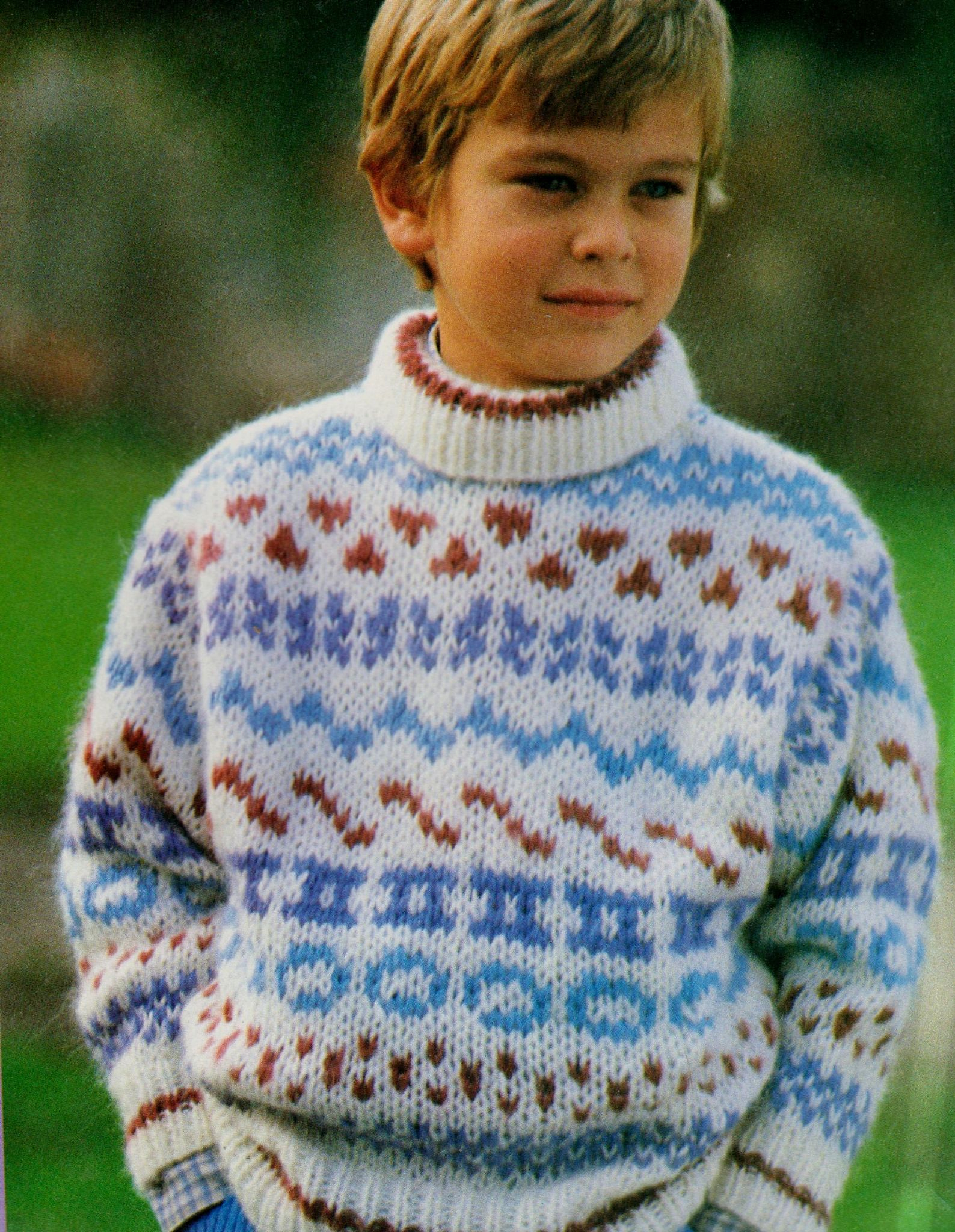 Easy Jumper Knitting Pattern Original Vintage Knitting Pattern Childs Easy Chunky Fair Isle Sweater Jumper Chest 24 30