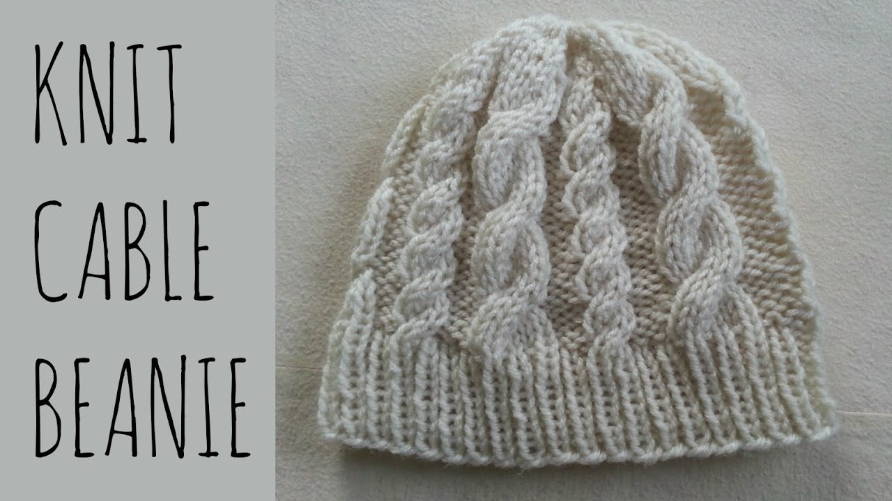 Easy Knit Hat Pattern For Beginners Cable Beanie Easy Knit Pattern Tutorial