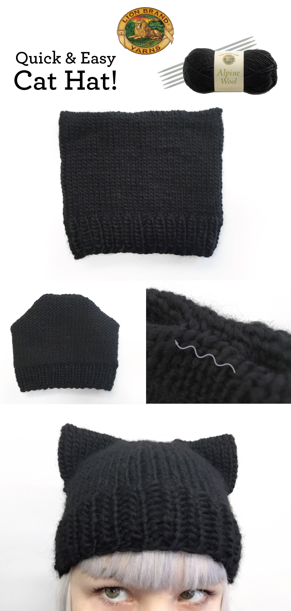 Easy Knit Hat Pattern For Beginners Knit A Quick Easy Cat Hat Lion Brand Notebook