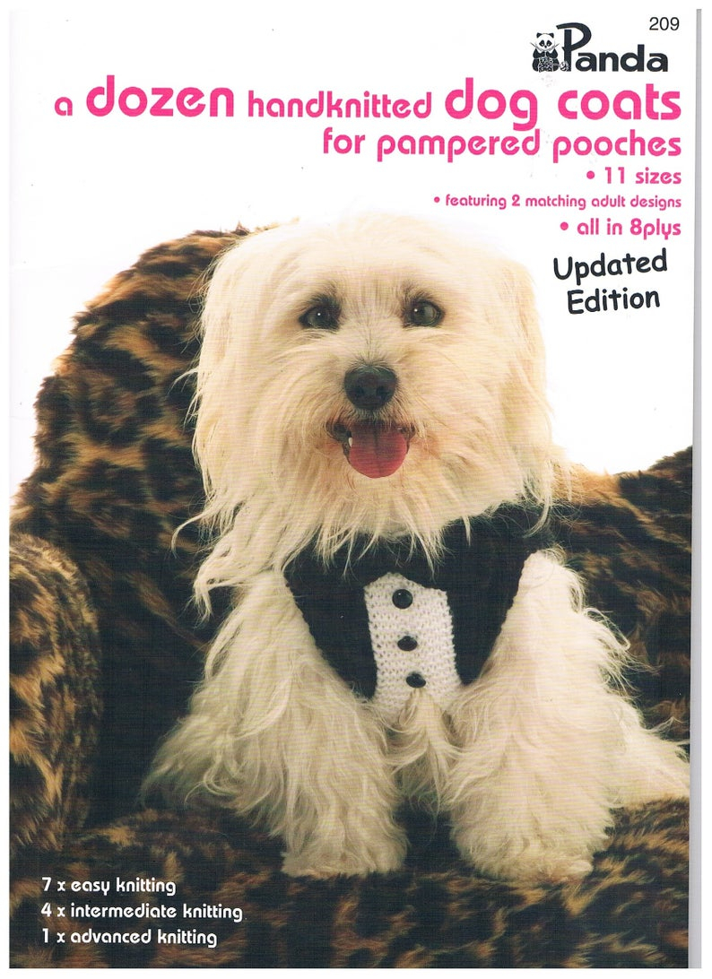 Easy Knitting Pattern For Dog Coat A Dozen Hand Knitted Dog Coats For Pampered Pooches Patterns Panda Book 209