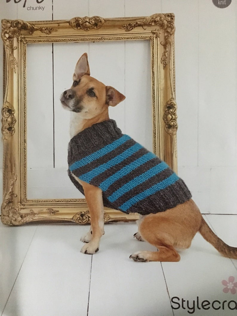 Easy Knitting Pattern For Dog Coat Knitting Pattern For Dog Coat Easy Pattern With Sizes To Fits Most Dogs Knitted In Chunky Yarn
