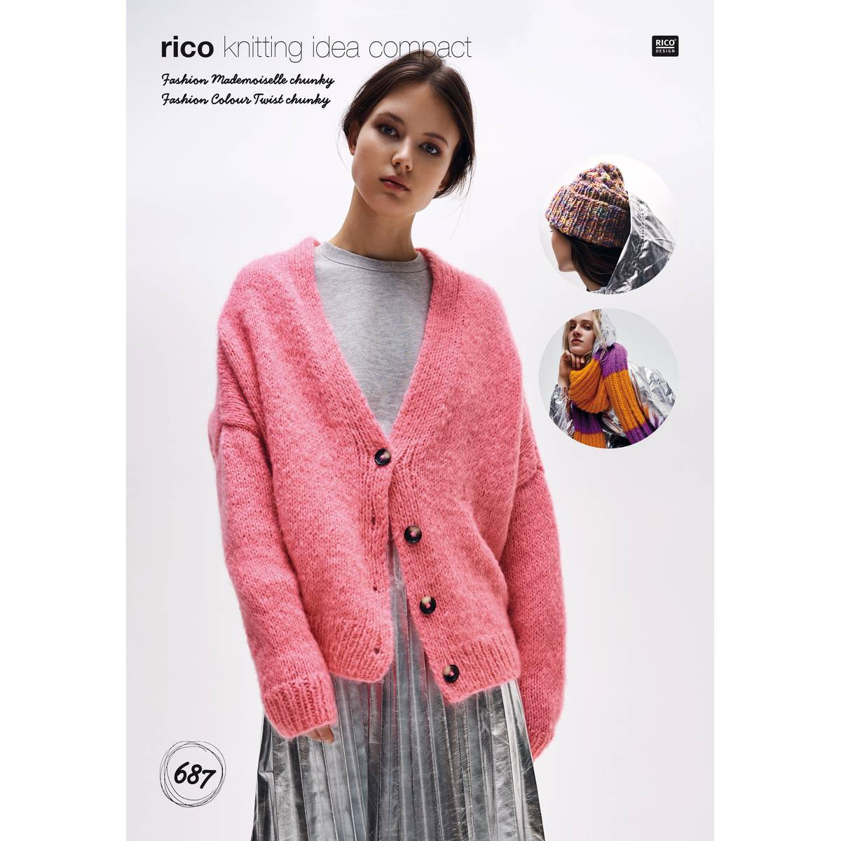Fashionable Knitting Patterns Uk Rico Madamoiselle Chunky Cardigan And Accessories Pattern 687