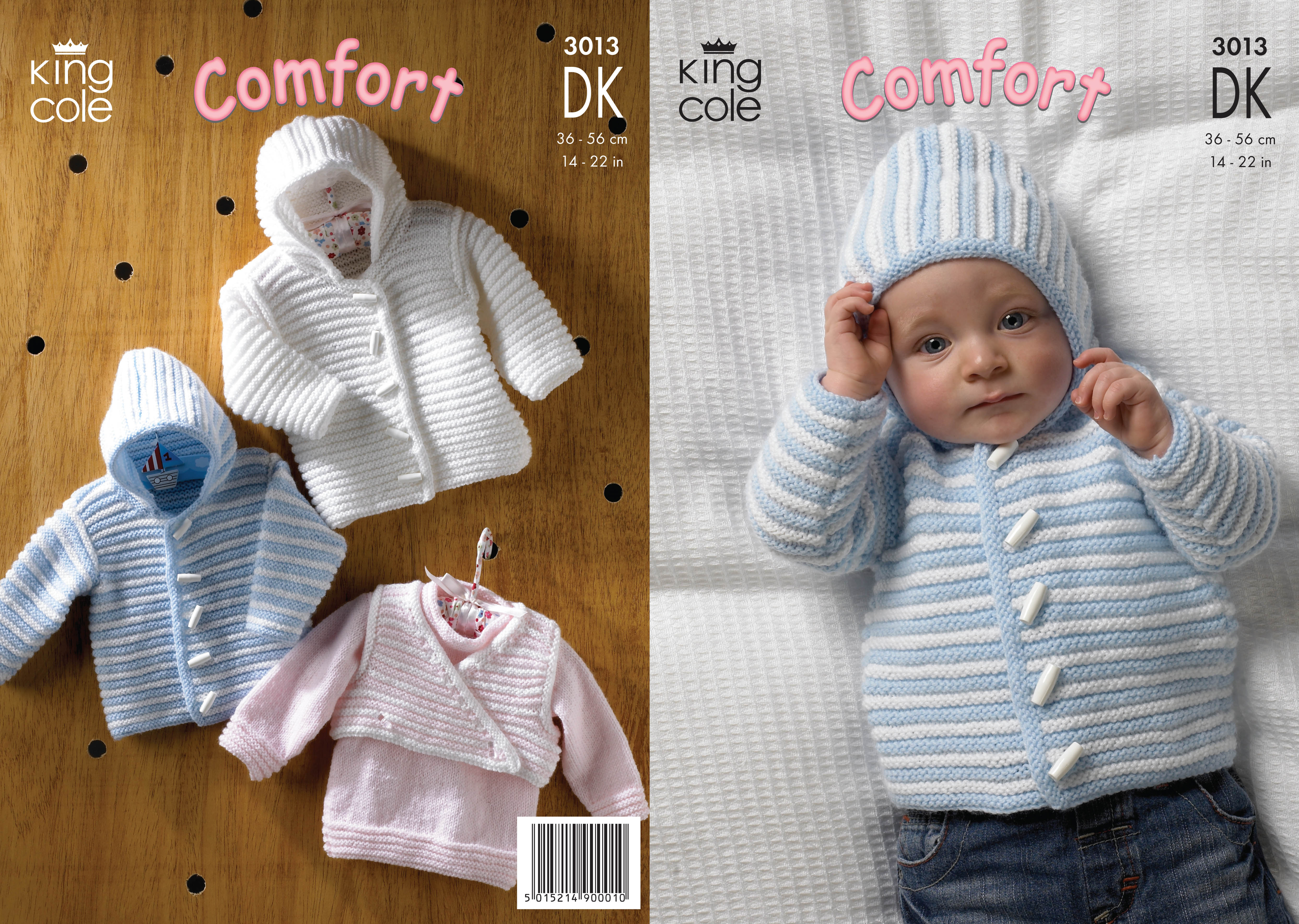 Free Baby Knitting Patterns Double Knit Ba Double Knitting Dk Pattern King Cole Striped Jacket Sweater