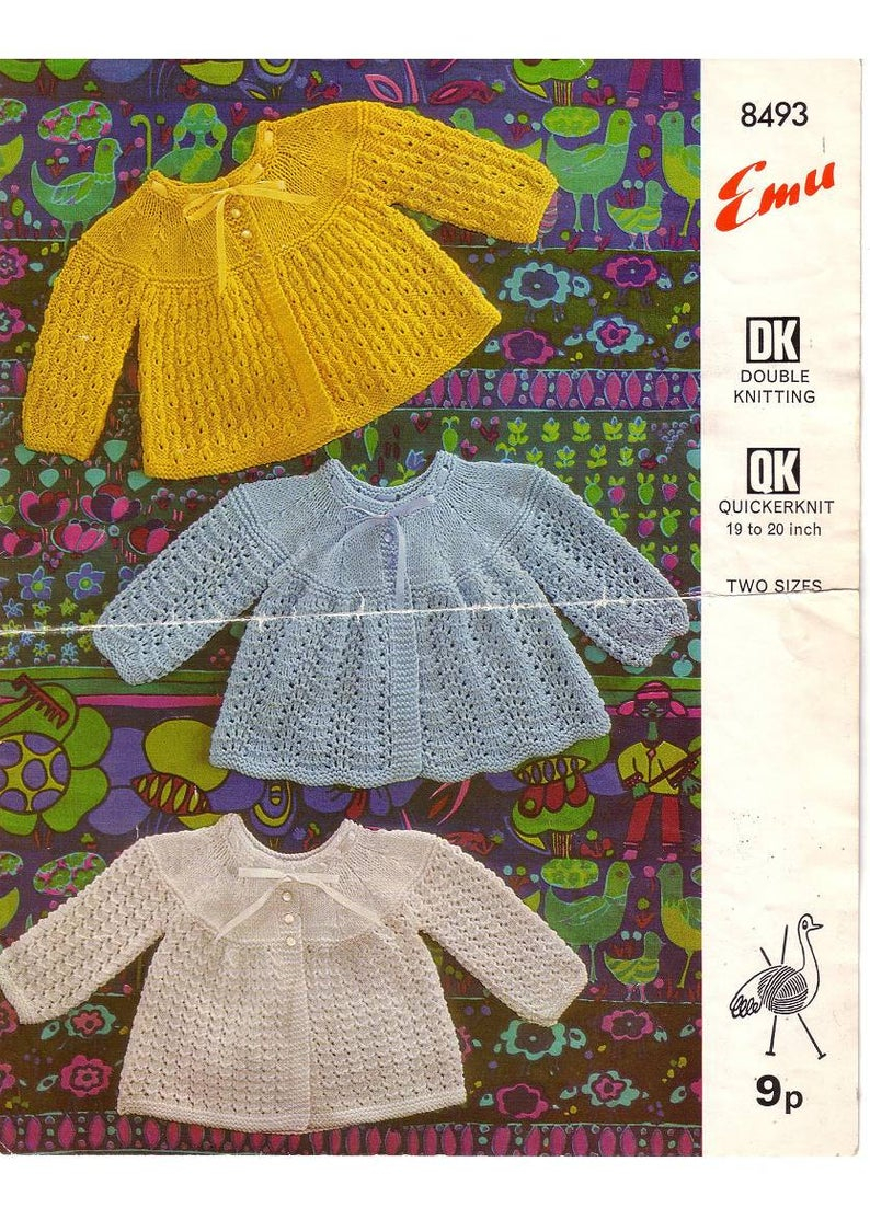 Free Baby Knitting Patterns Double Knit Emu 8493 Vintage Knit Pattern For 3 Styles Ba Matinee Coats Etsy