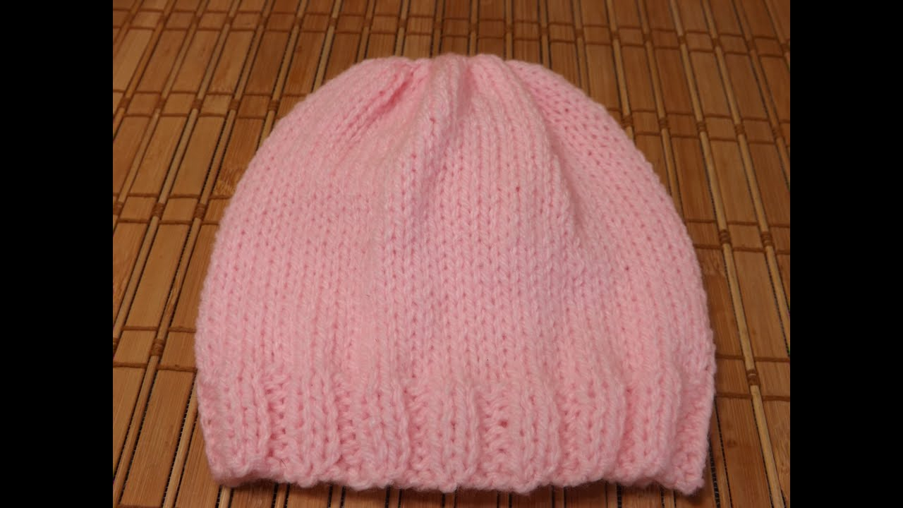 Free Baby Knitting Patterns Double Knit How To Knit A Newborn Bas Hat For Beginners Youtube