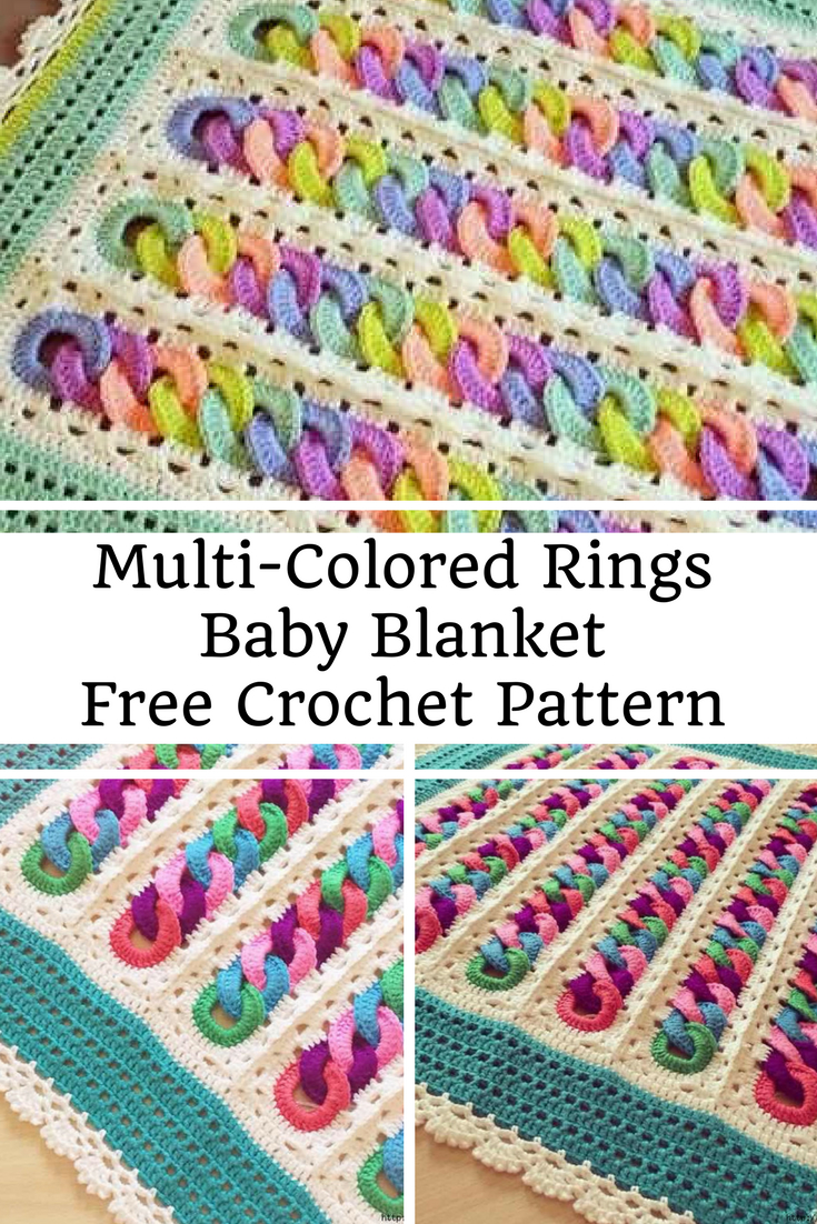 Free Baby Knitting Patterns Pinterest Fabulous Multi Colored Rings Ba Blanket Free Crochet Pattern