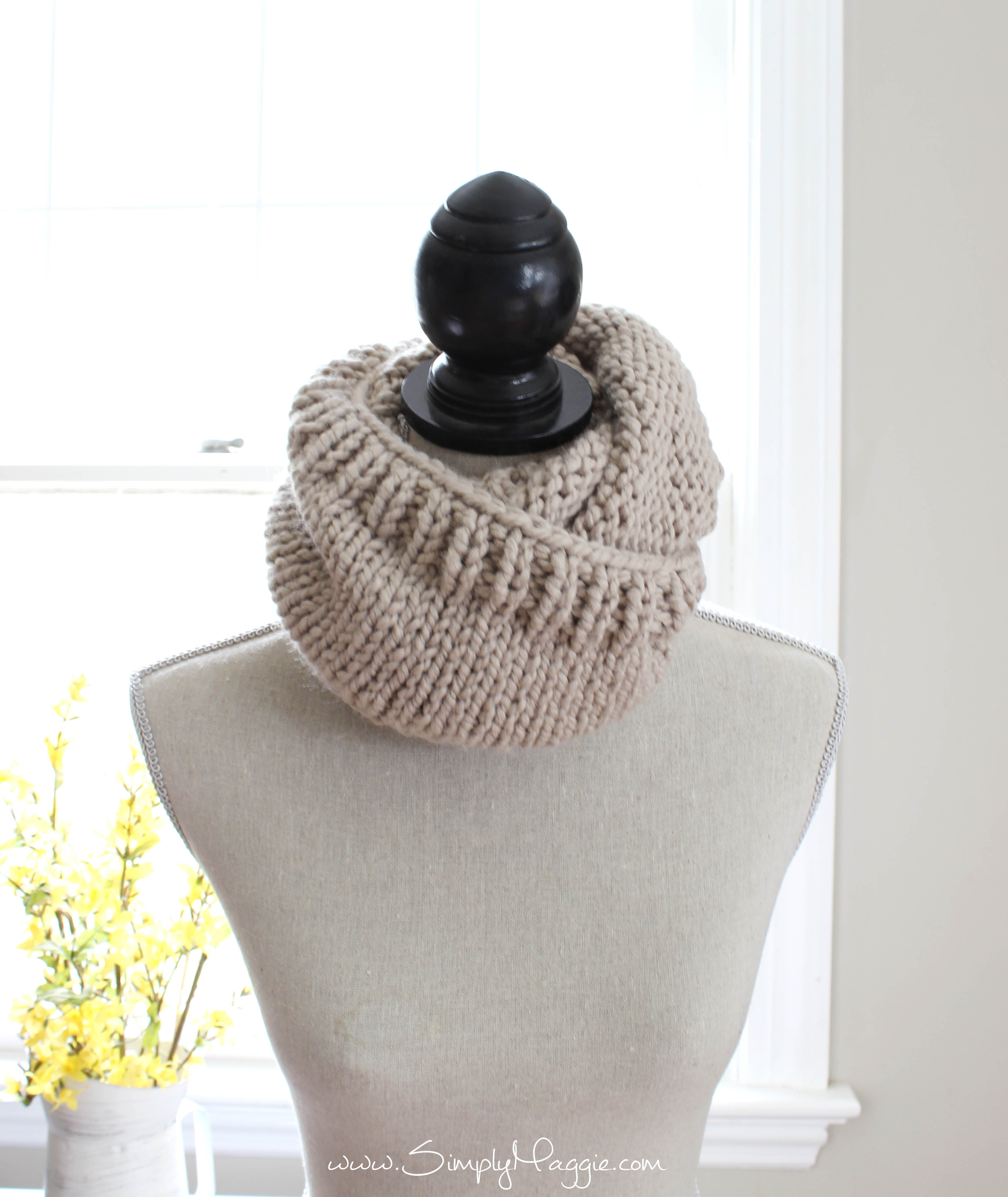 Free Bulky Knitting Patterns Chunky Tri Style Knit Cowl Pattern Free Simplymaggie