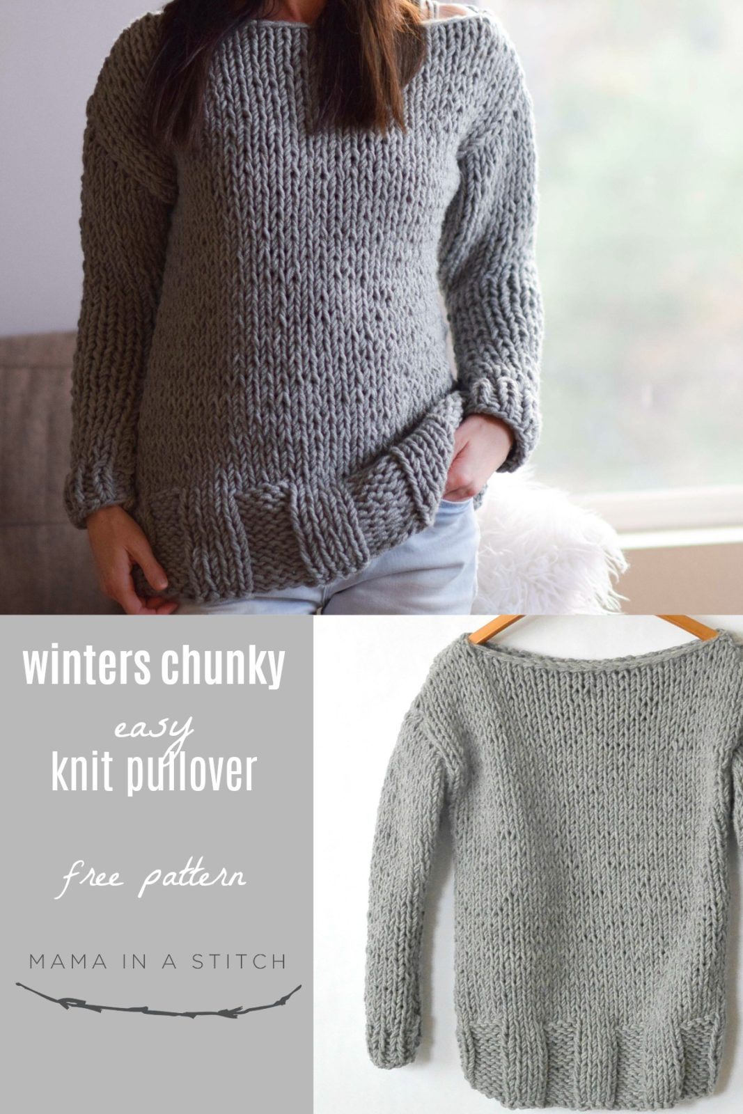 Free Bulky Knitting Patterns Winters Chunky Easy Knit Pullover Pattern Mama In A Stitch