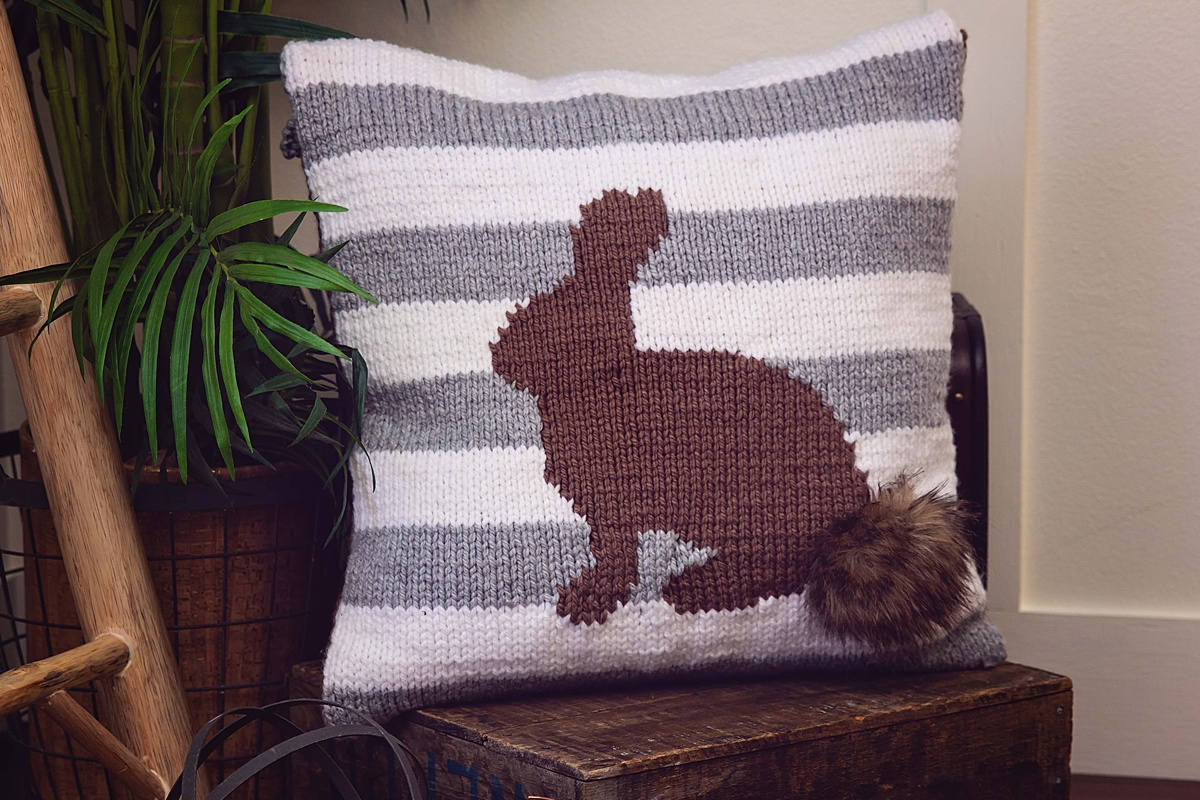 Free Cushion Knitting Patterns Fluffy Bunny Knit Pillow Cover Free Pattern Briana K Designs