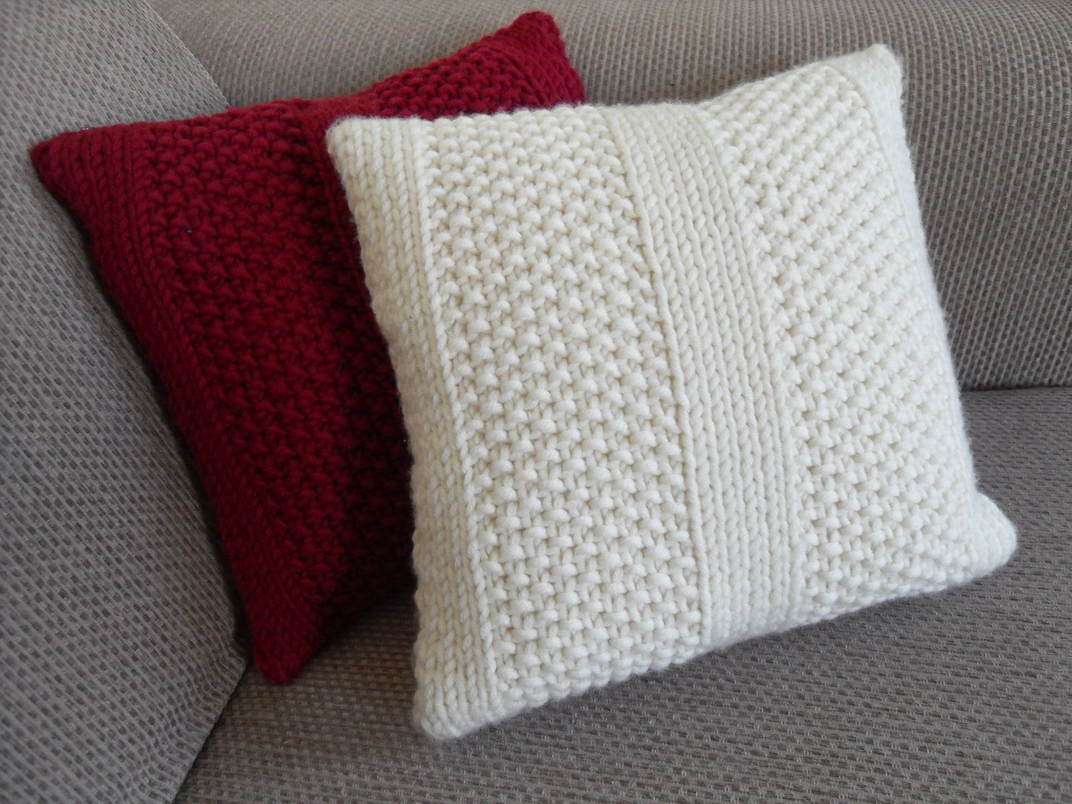 Free Cushion Knitting Patterns Knitting Pattern For Armchair Covers Tags Chunky Wool Cushion